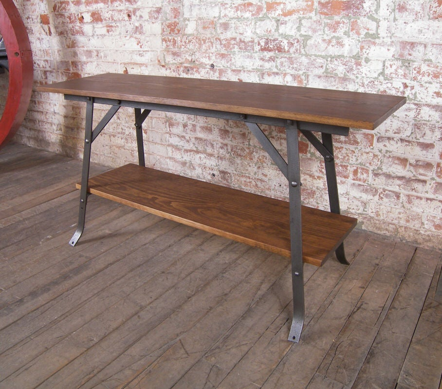 Wood And Steel Industrial Bench Or Table Or Shelving Unit Vintage Industrial For Sale At 1stdibs