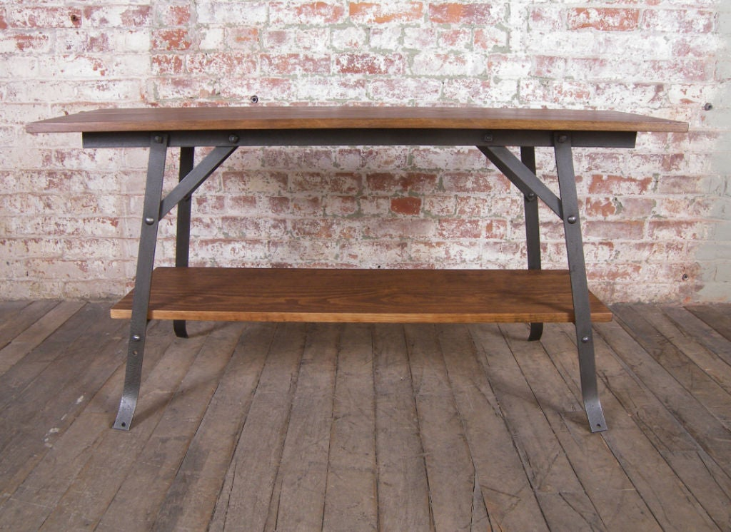 Modern Wood And Metal Furniture Mid Century Steel Bench Or
