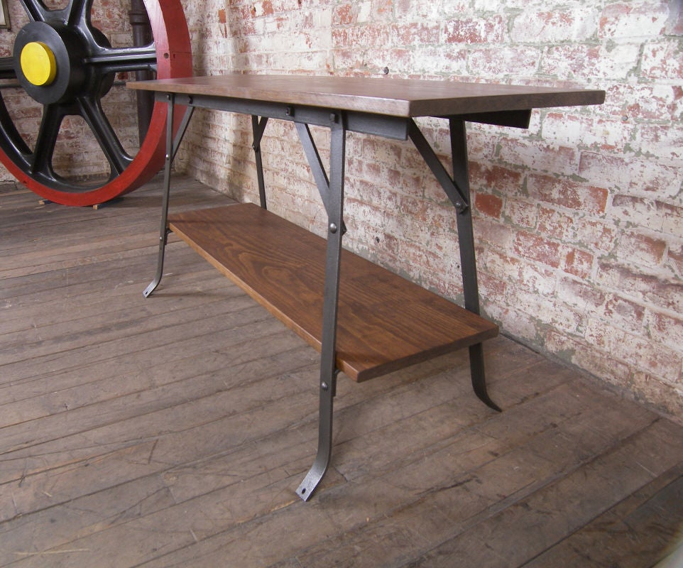 Wood And Steel Industrial Bench Table Shelving Unit At 1stdibs