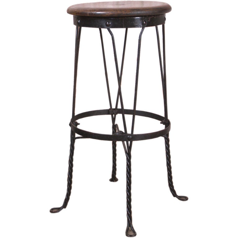 Vintage Metal Twist Leg Stool With Oak Seat At 1stdibs