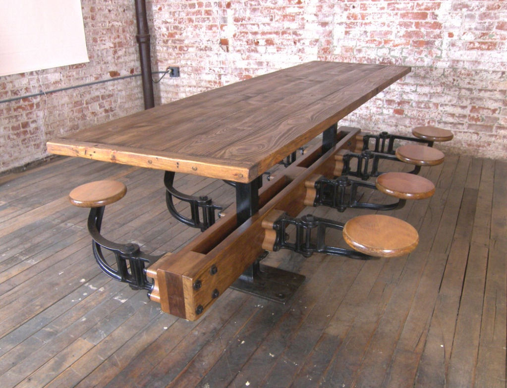 vintage industrial cast iron and wood swing out seat table at 1stdibs. Black Bedroom Furniture Sets. Home Design Ideas