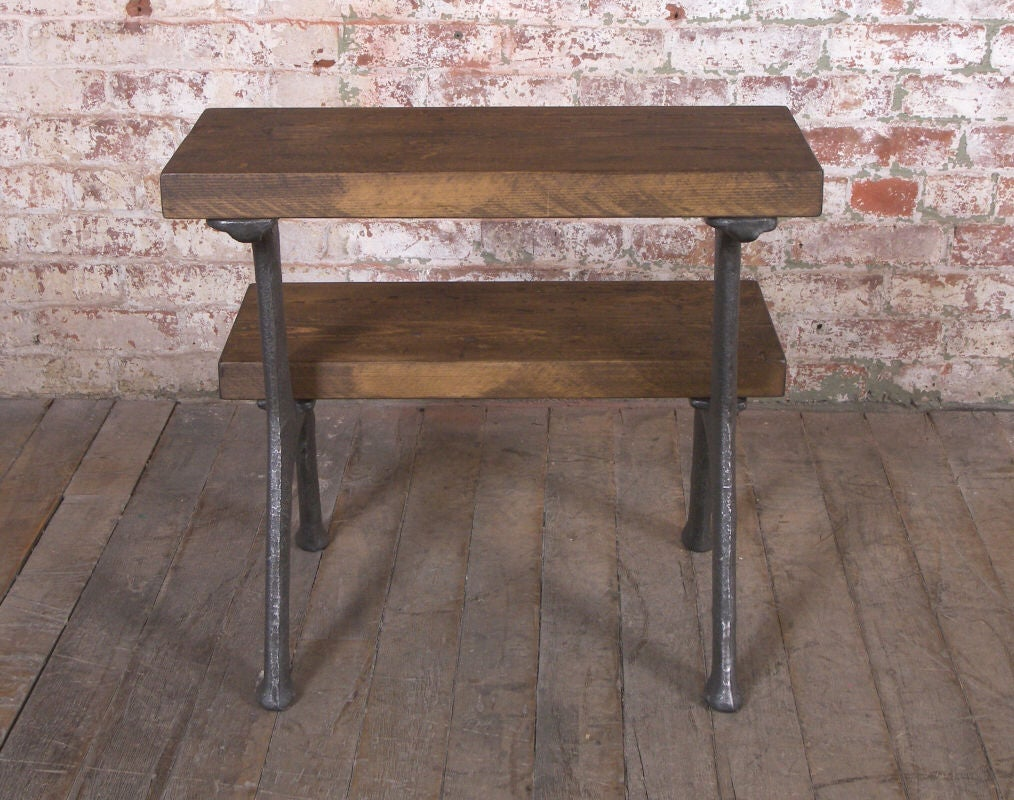Vintage Industrial Wood And Cast Iron Step Stool At 1stdibs