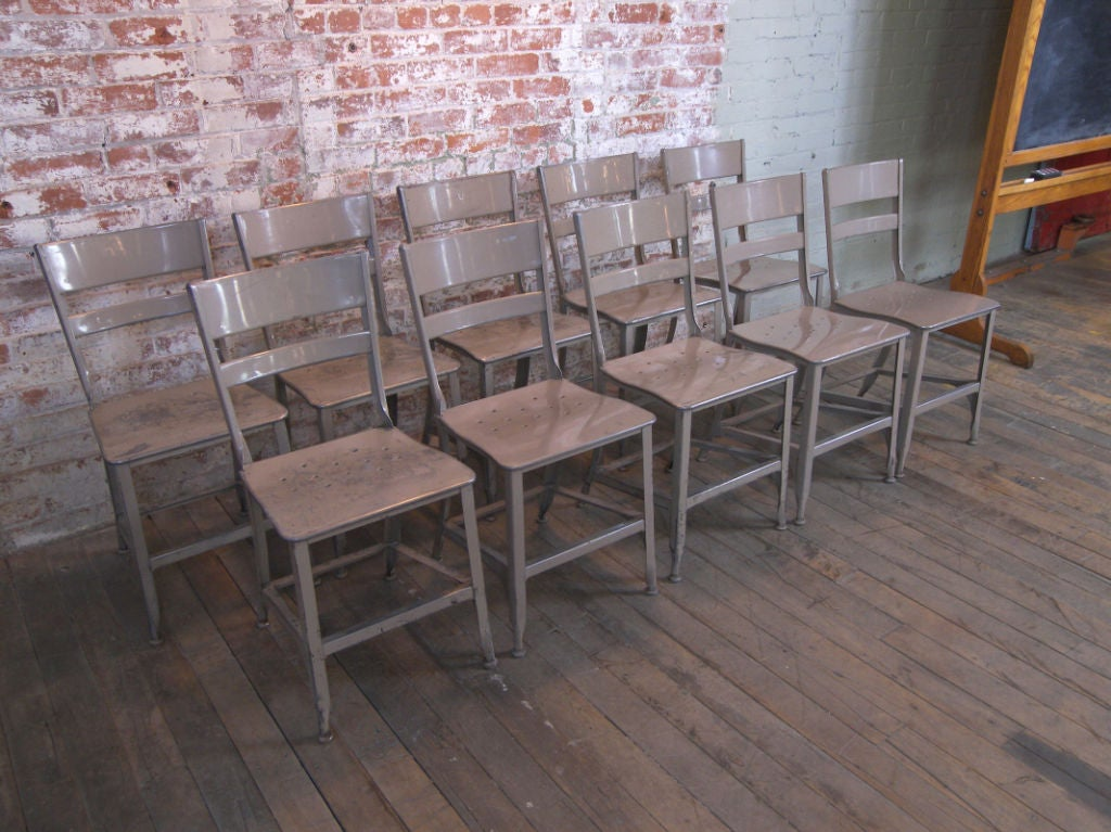 set of 10 vintage industrial toledo metal dining chairs at 1stdibs