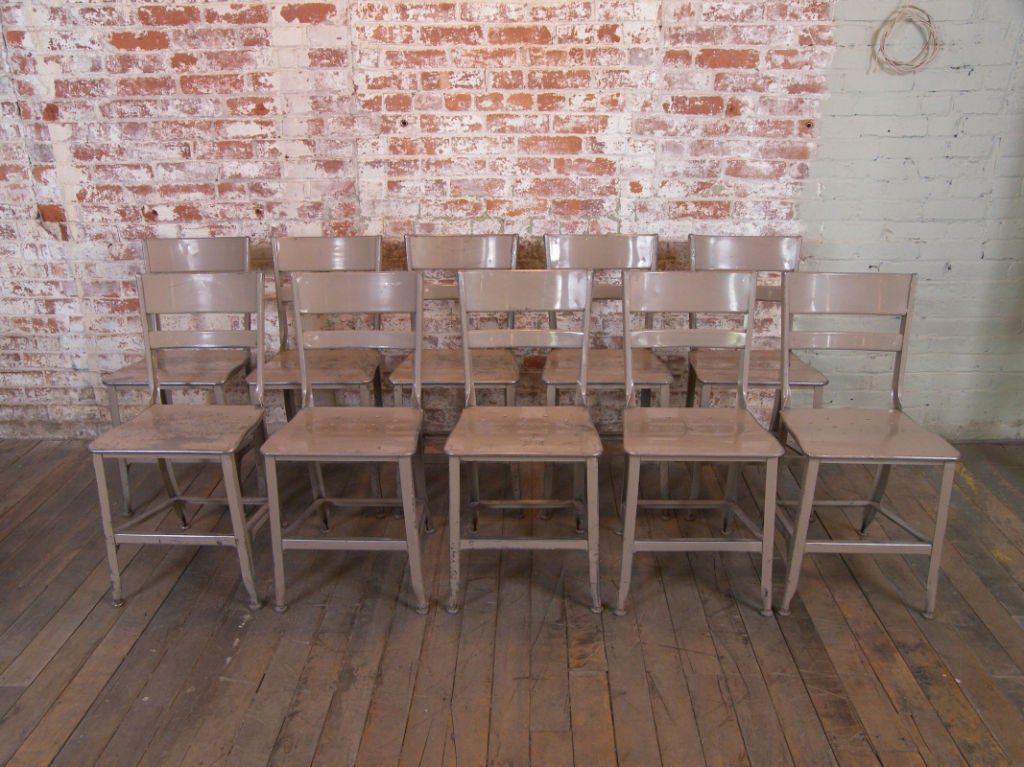 Set of vintage industrial toledo metal dining chairs