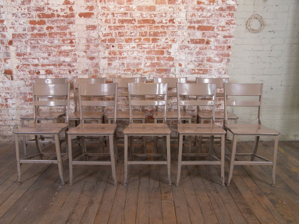 Set of 10 vintage industrial toledo metal dining chairs at 1stdibs