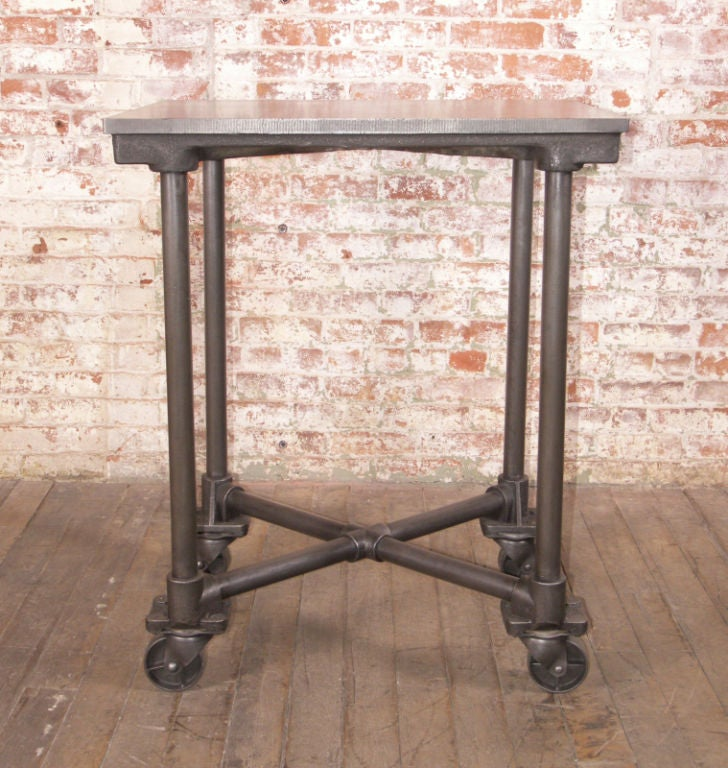Industrial Coffee Table On Wheels At 1stdibs: Vintage Industrial Cast Iron And Steel Turtle Table On