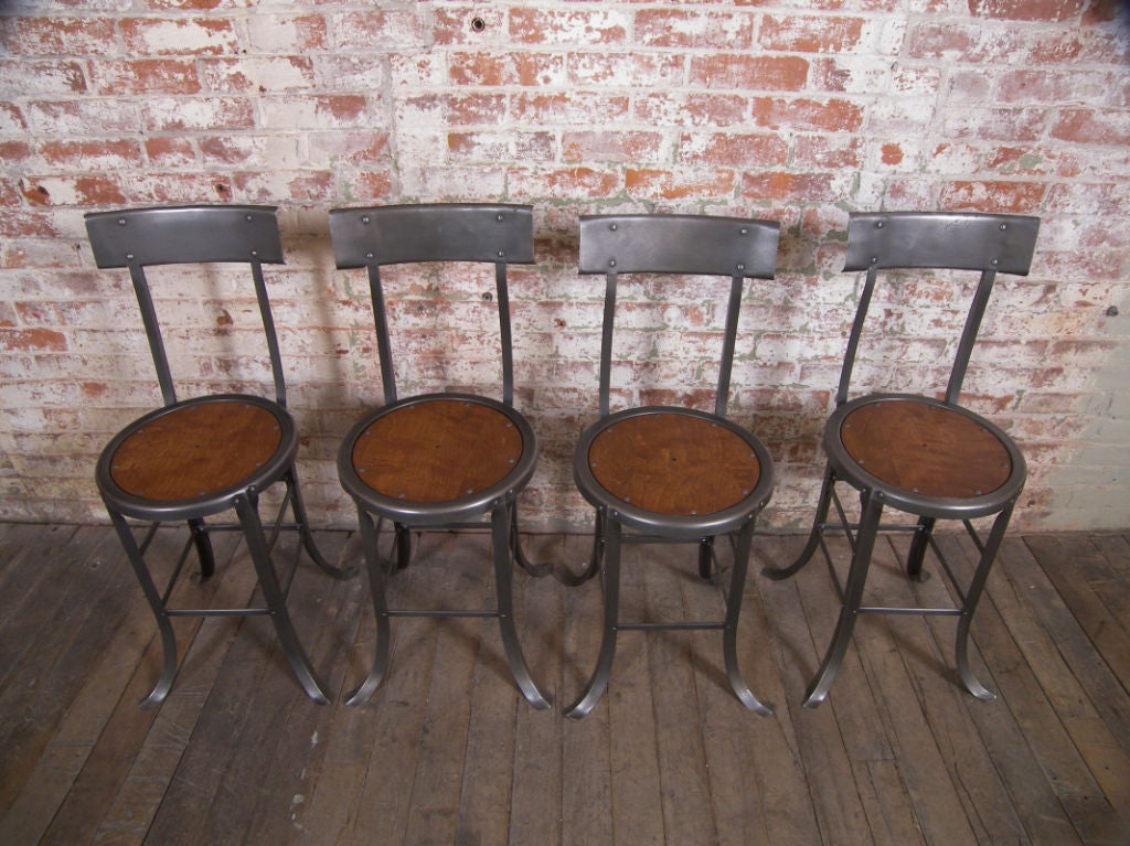 Set Of 2 Vintage Industrial Wood And Metal Chairs At 1stdibs