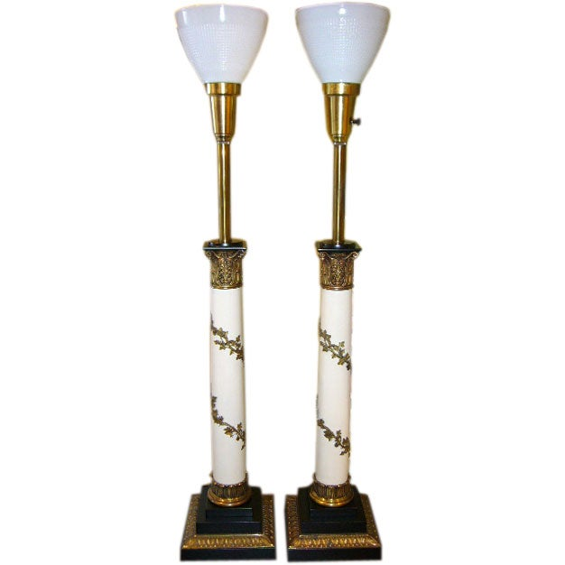 Fine French Empire Style Column Lamps By Stiffel 1