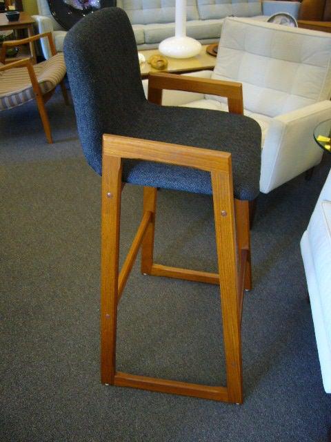 Pair of Danish Modern Teak Bar Stools Upholstered For Sale 2