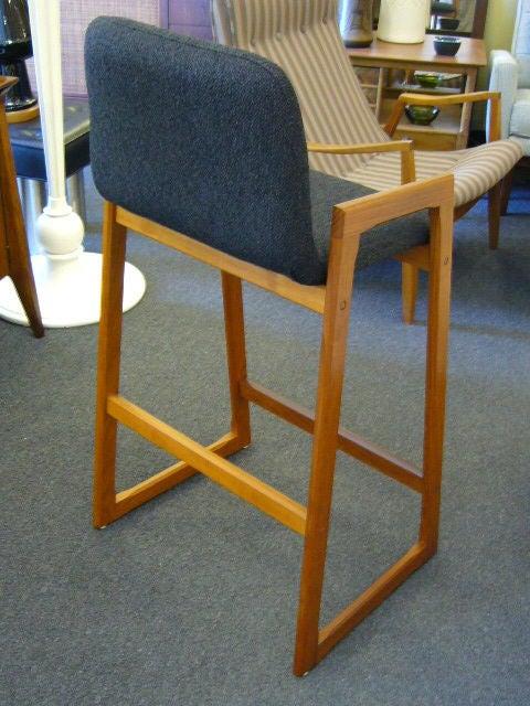 Scandinavian Modern Pair of Danish Modern Teak Bar Stools Upholstered For Sale