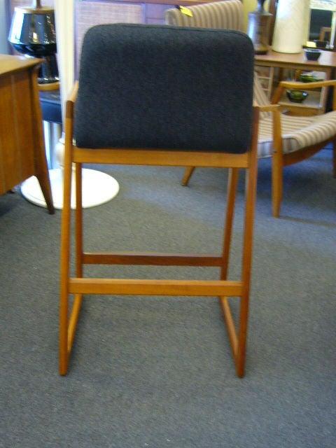 Mid-20th Century Pair of Danish Modern Teak Bar Stools Upholstered For Sale
