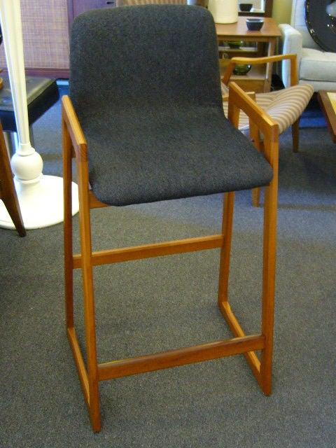 Sycamore Pair of Danish Modern Teak Bar Stools Upholstered For Sale
