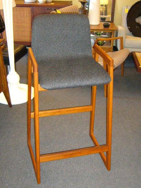 Pair of Danish Modern Teak Bar Stools Upholstered For Sale 1