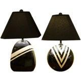 Bold Geometric Pop Art B/W Table Lamps
