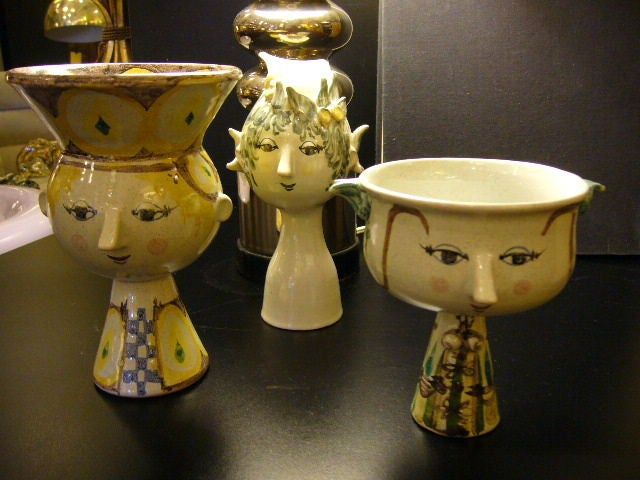 SOLD MARCH 2011 Fun whimsical Head Vase by Bjorn Wiinblad from his own studio in Denmark. Measurements are:  Female with