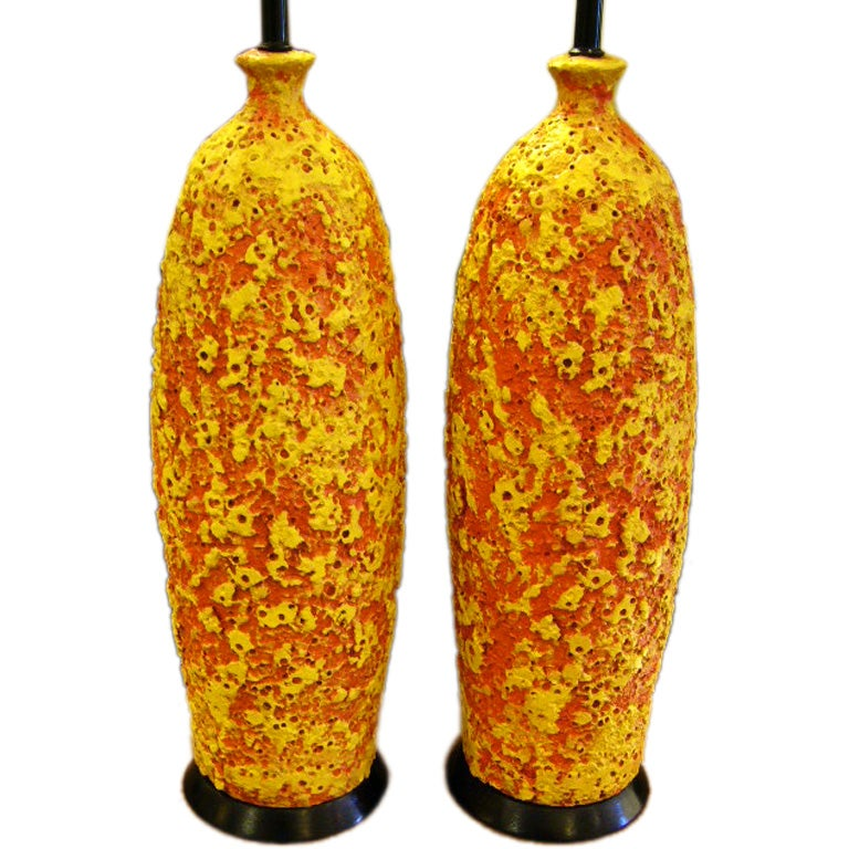 Pair of Fab Brutal Lava Glaze Pottery Lamps
