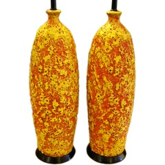Pair of 1950s Brutalist Modern Lava Glaze Pottery Table Lamps