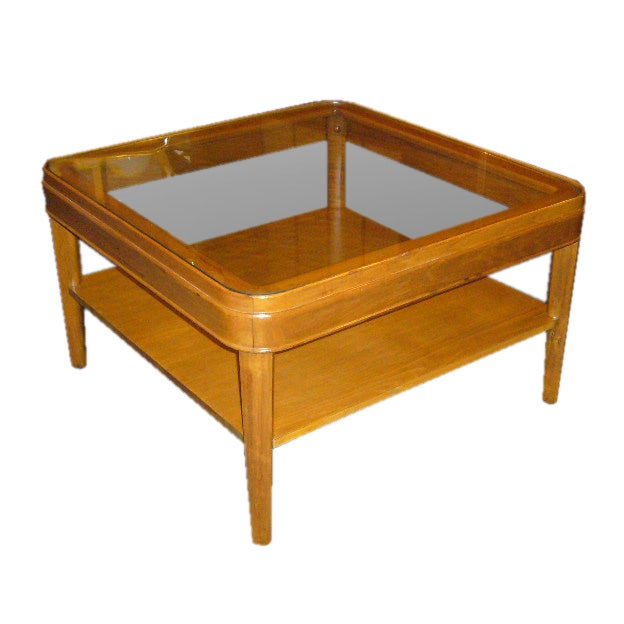 Heywood Wakefield Style Glass Top Table For Sale