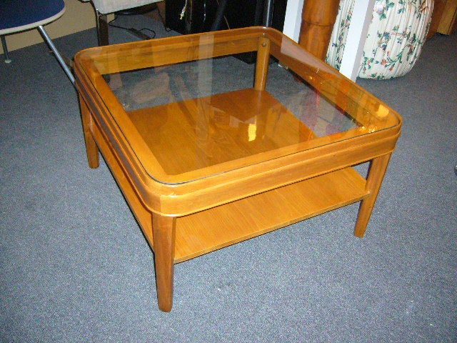 Heywood Wakefield Style Glass Top Table For Sale 1