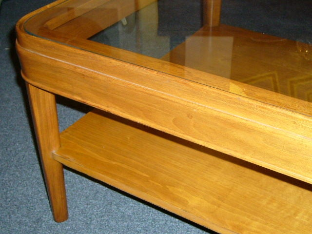Heywood Wakefield Style Glass Top Table For Sale 3