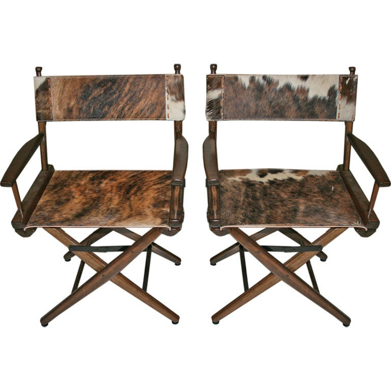 PAIR OF 1970S DIRECTOR'S CHAIRS STEER HIDE SEATS For Sale