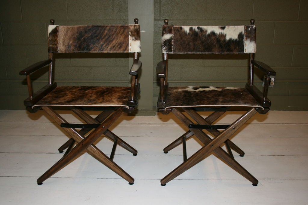 PAIR OF 1970S - NEVER USED - (STILL IN ORIGINAL BOX NEW OLD STOCK) DIRECTOR'S CHAIRS WITH STEER HIDE SEATS.