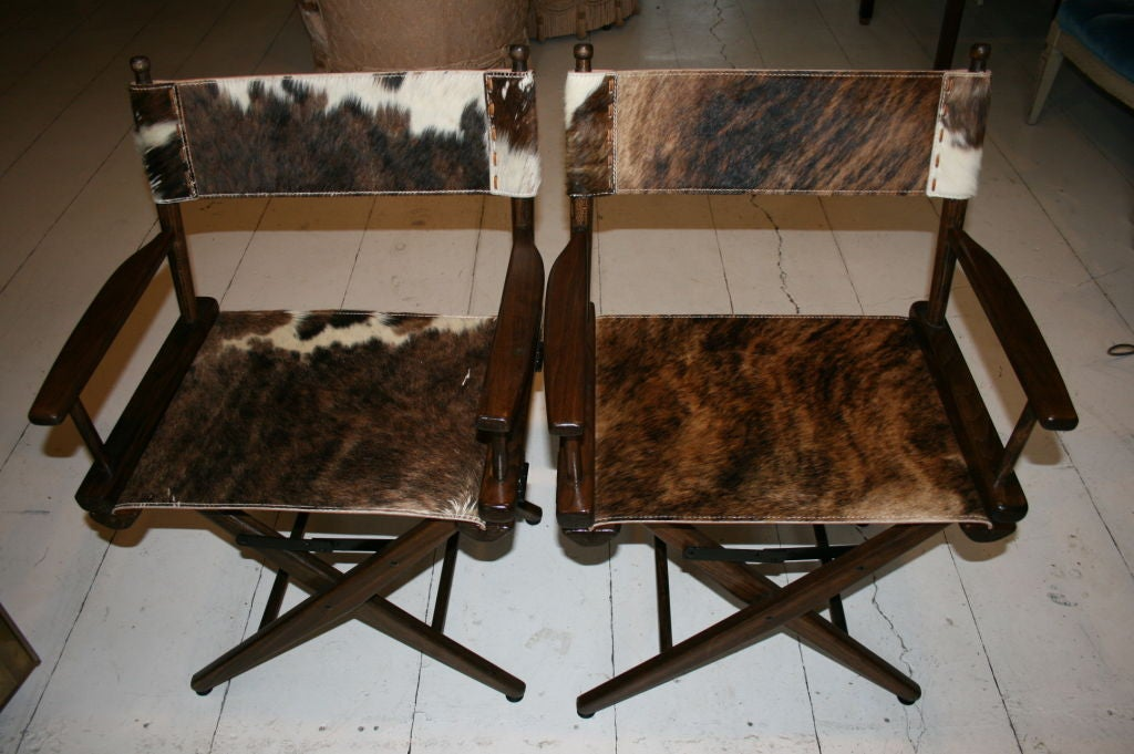 American PAIR OF 1970S DIRECTOR'S CHAIRS STEER HIDE SEATS For Sale