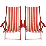 PAIR OF RED AND WHITE STRIPED CANVAS BEACH CHAIRS