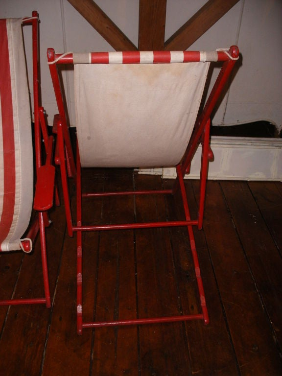 Mid-20th Century PAIR OF RED AND WHITE STRIPED CANVAS BEACH CHAIRS