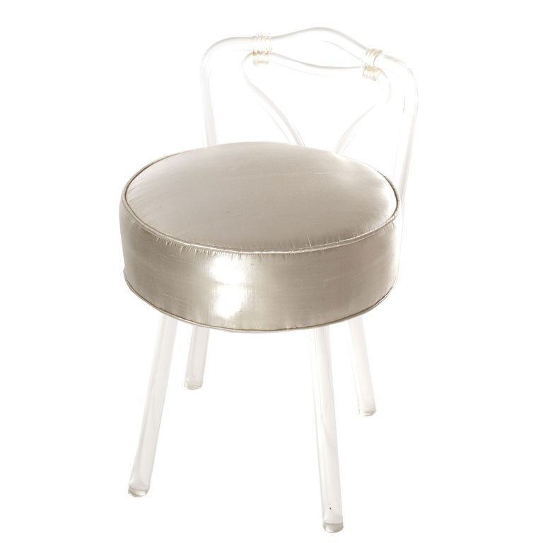 Lucite vanity chair in platinum fabric at 1stdibs - Acrylic vanity chair ...