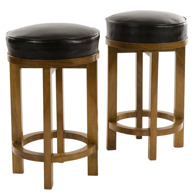 Pair Of Oak And Leather Round Stools At 1stdibs