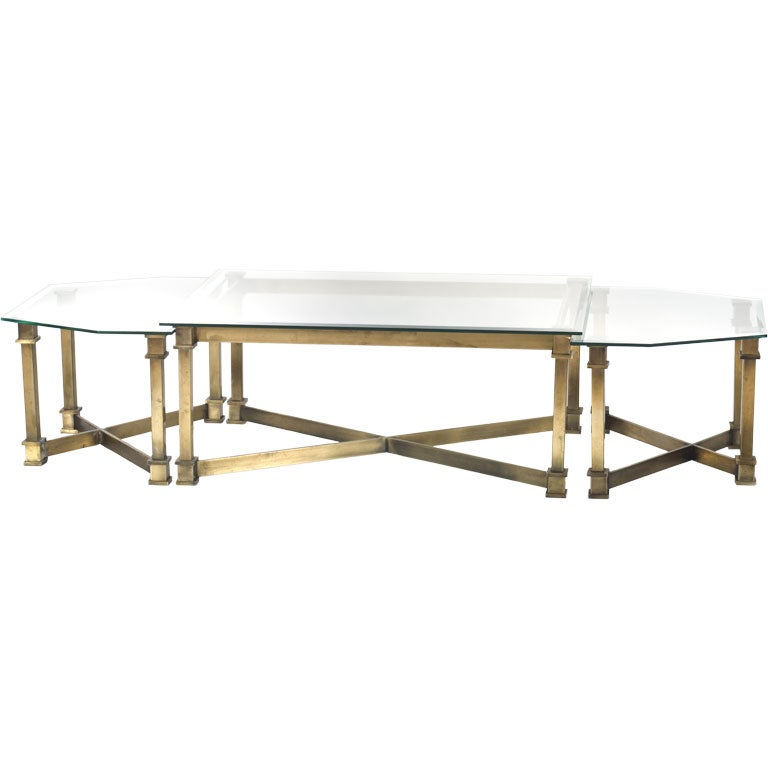 Large Scale Bronze And Glass Coffee Table In Three Parts At 1stdibs