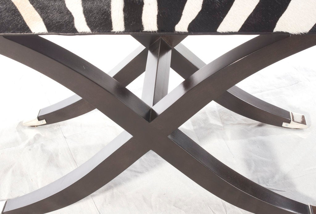 Custom X Leg Bench In Zebra At 1stdibs