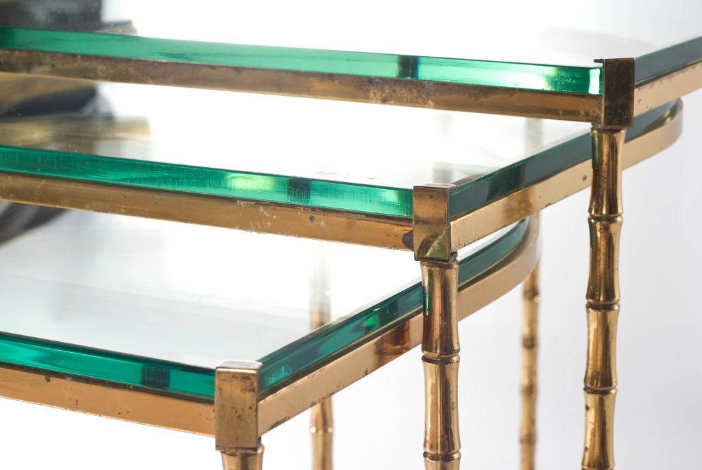 Set Of 3 Glass Tables: Set Of Three Brass And Opaline Glass Nesting Tables At 1stdibs