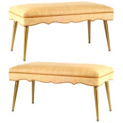 Pair of Benches in Raffia with Metal Legs