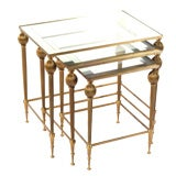 Set of Three Brass Nesting Tables with Silver Mirror Accent