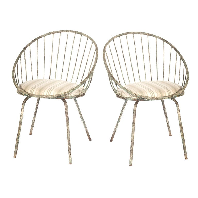 Pair Of French Metal Garden Chairs At 1stdibs