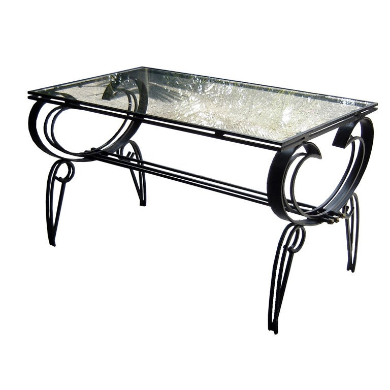 French art deco wrought iron and glass coffee table at 1stdibs for French glass coffee table
