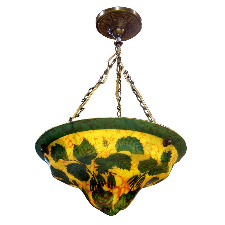 Ceiling Lights Yellow : Czech art deco yellow green cameo glass ceiling light at