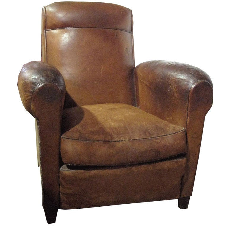 Small French Art Deco Leather Club Chair at 1stdibs