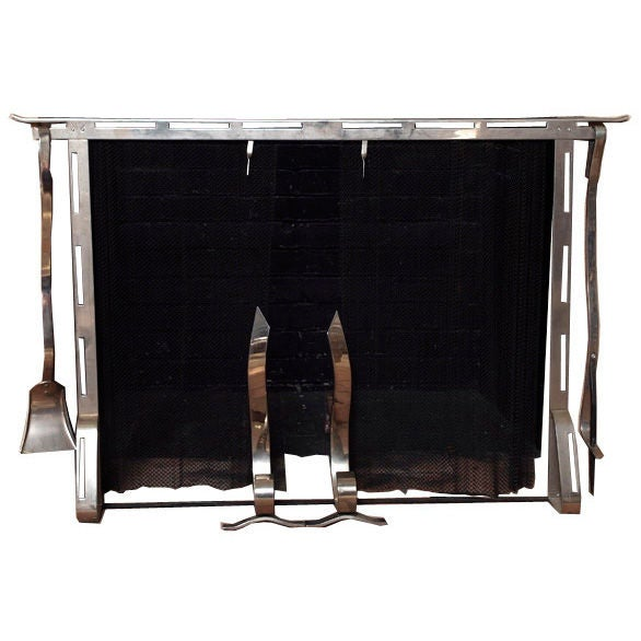 American Art Deco Fireplace Screen Tools And Log Holder Set At 1stdibs