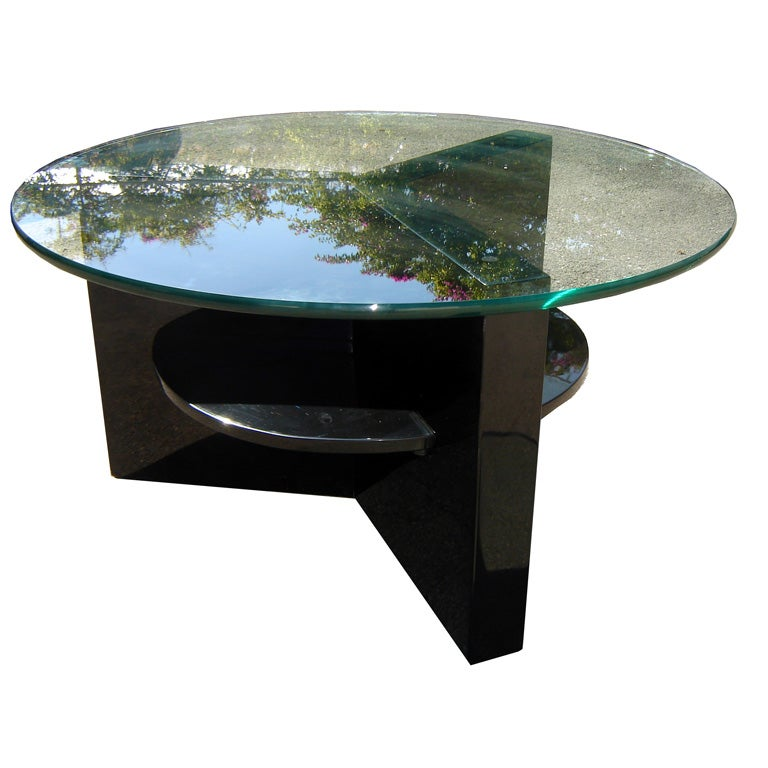 American Art Deco Black Lacquer Coffee Table W Round Glass Top At 1stdibs