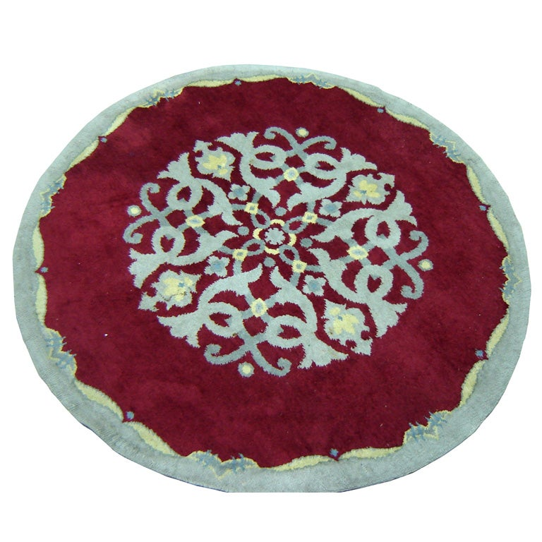French Art Deco Round Carpet In The Style Of Paule Leleu