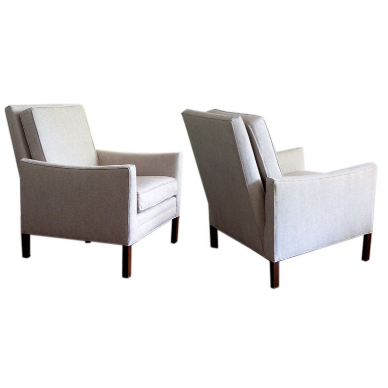 Handsome pair of angled back midcentury armchairs dunbar style at 1stdibs - Leanback lounger chairs ...