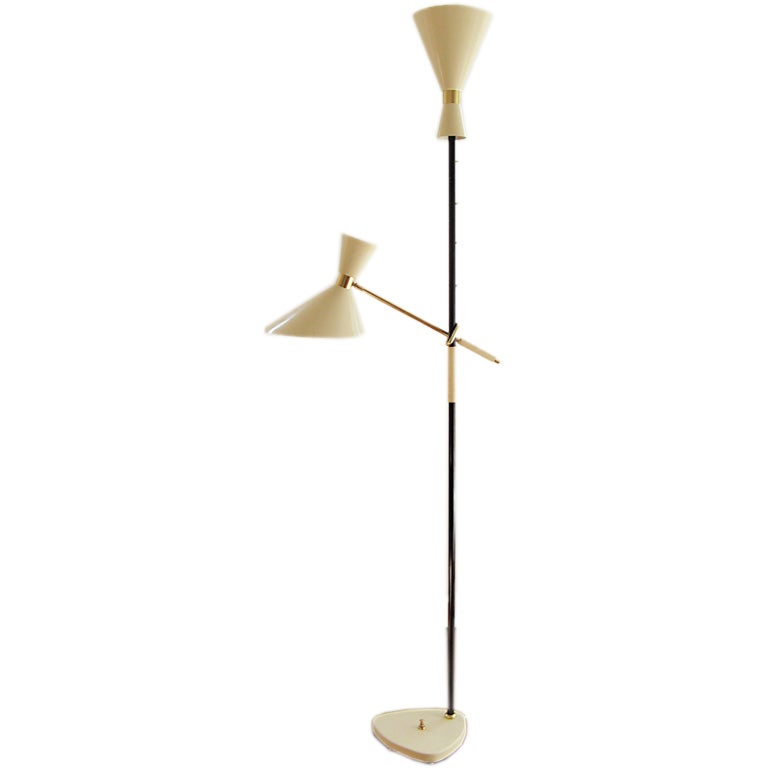 italian two shade floor lamp 1950 39 s adjustable arm. Black Bedroom Furniture Sets. Home Design Ideas