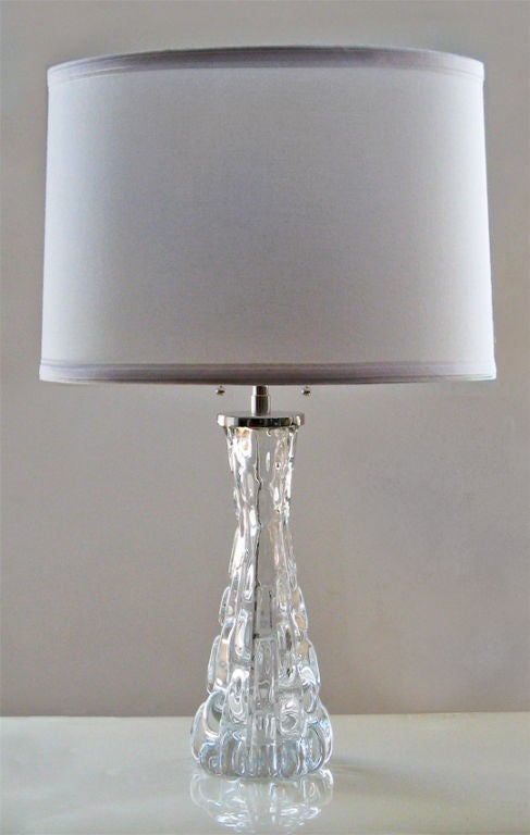 Pair Swedish Orrefors Clear Crystal Lamps With Nickel