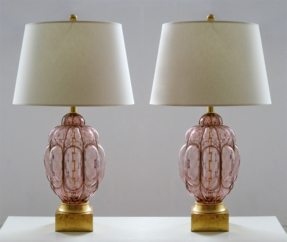 large murano glass lamps with gold filigree and gilt wood bases at 1stdibs. Black Bedroom Furniture Sets. Home Design Ideas
