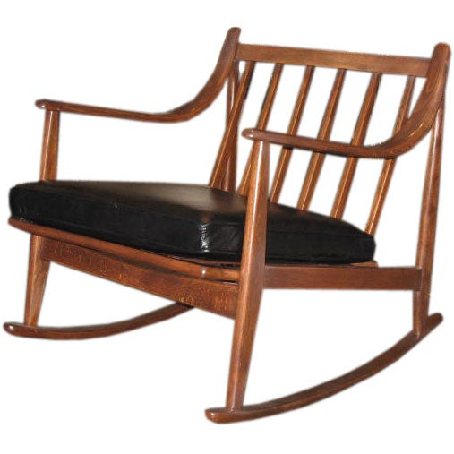 This Mid Century Modern Rocking Chair with Black Leather Cushion is no ...