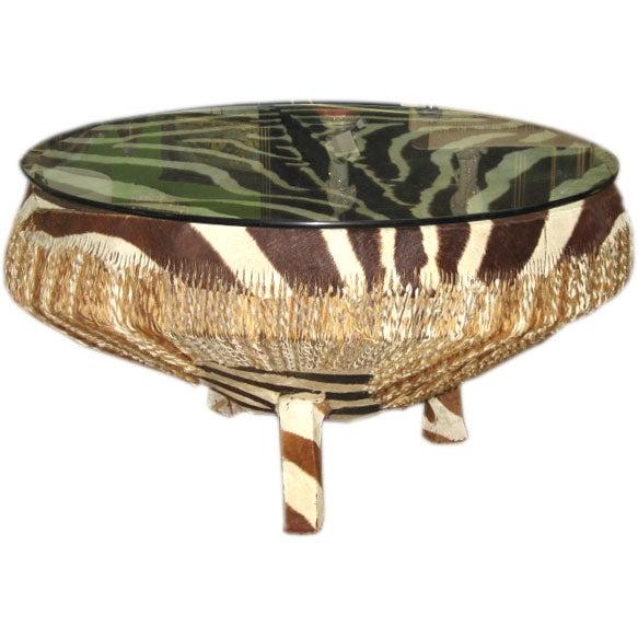 zebra hide coffee table vintage at 1stdibs. Black Bedroom Furniture Sets. Home Design Ideas