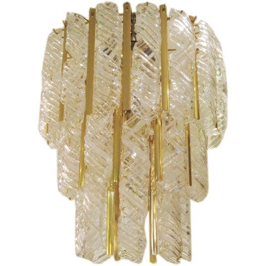 Murano Spiral Chandelier: Brass And Murano Glass Spiral Chandelier At 1stdibs